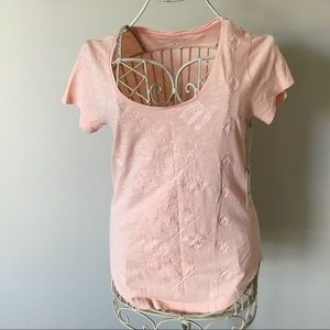 Lucky Brand Garment Dyed Pink Embroidered Top-S